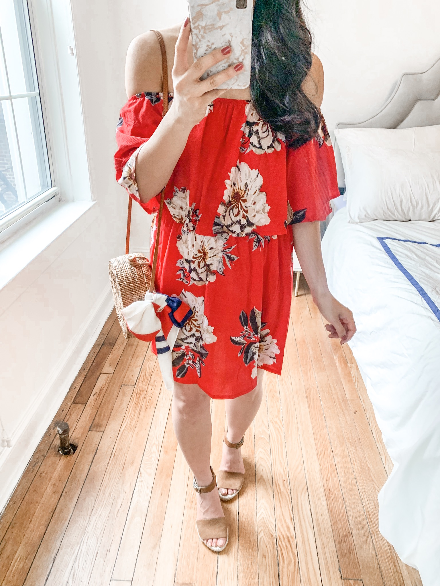 Spring Style / Red Floral Off the Shoulder Dress