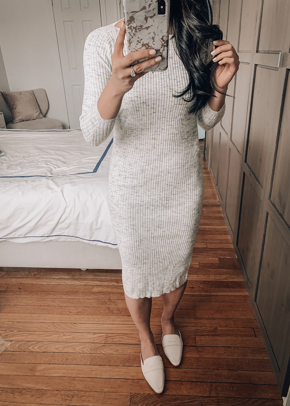 Spring Style / Grey Sweater Dress & Loafers