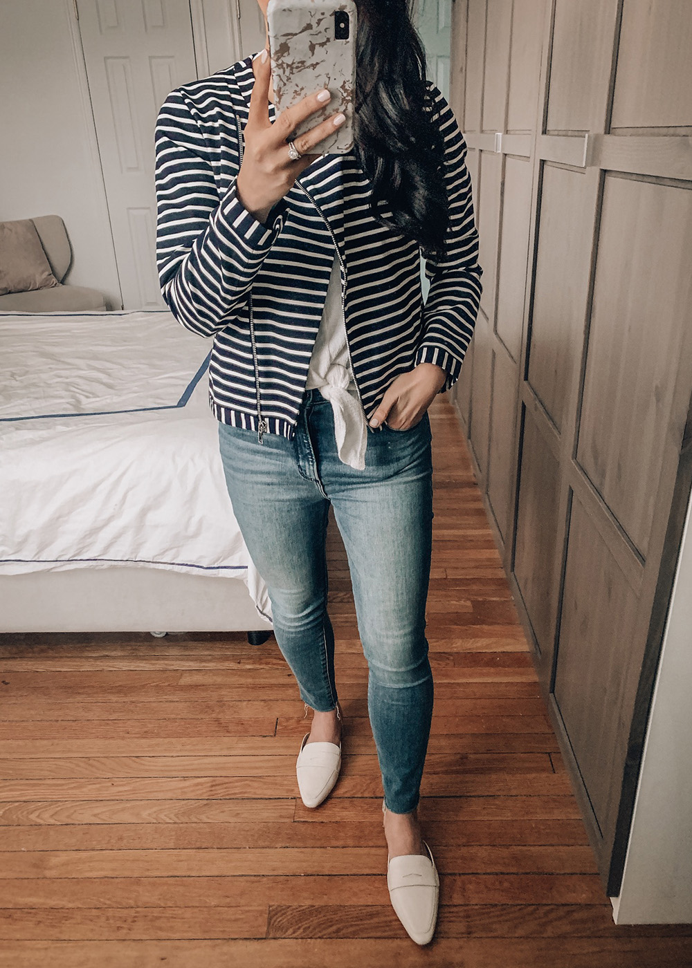 Spring Outfit Idea / Navy & White Stripe Moto Jacket