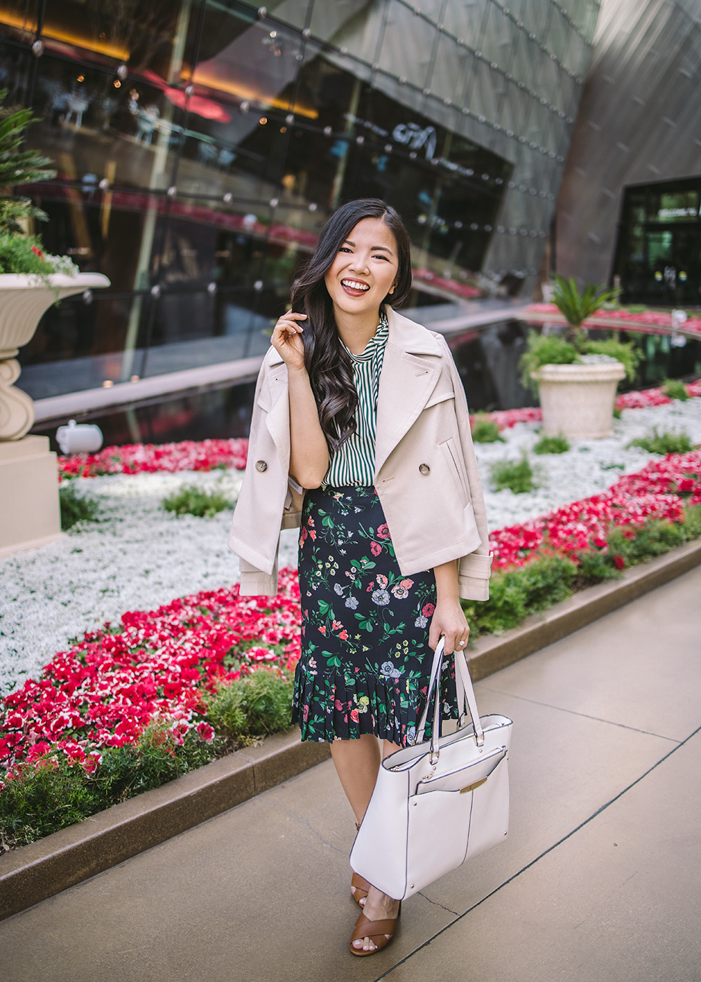Spring Style / Striped Top & Floral Print Skirt