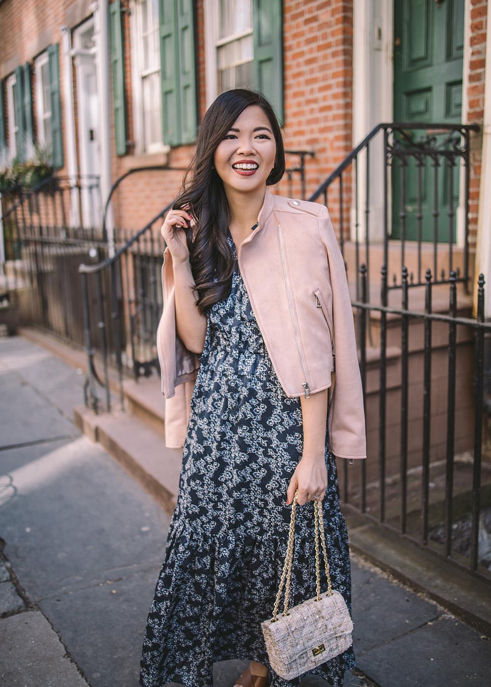 Spring Outfit Idea / Pink Moto Jacket & Navy Floral Maxi Dress