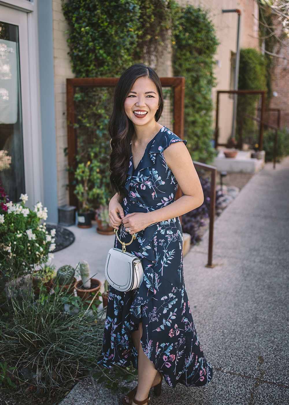 Spring Wedding Guest Style / Navy Floral Maxi Dress