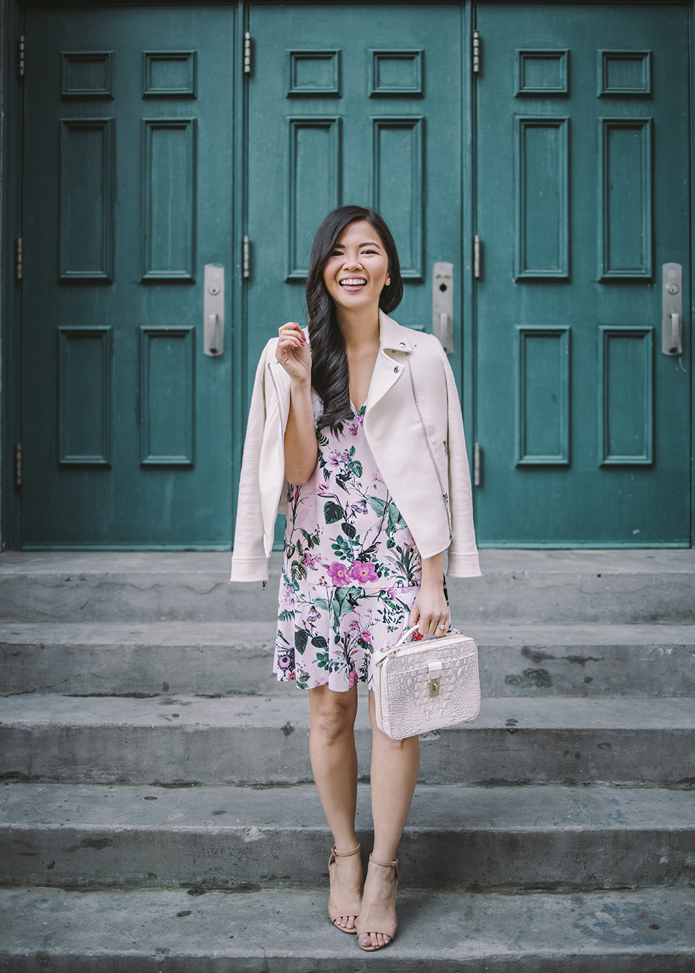 Spring Style / Pink Floral Dress & White Moto Jacket
