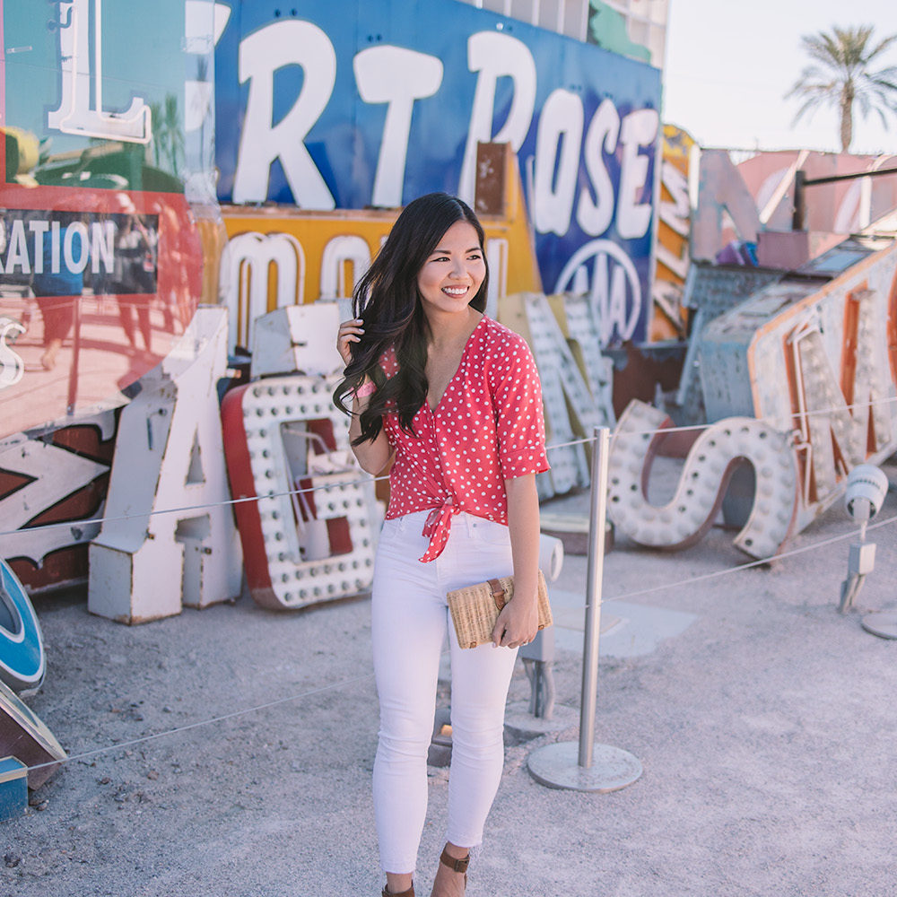 e7e9a1f0ee2a Spring Style in Las Vegas   Red Polka Dot Top   White Jeans