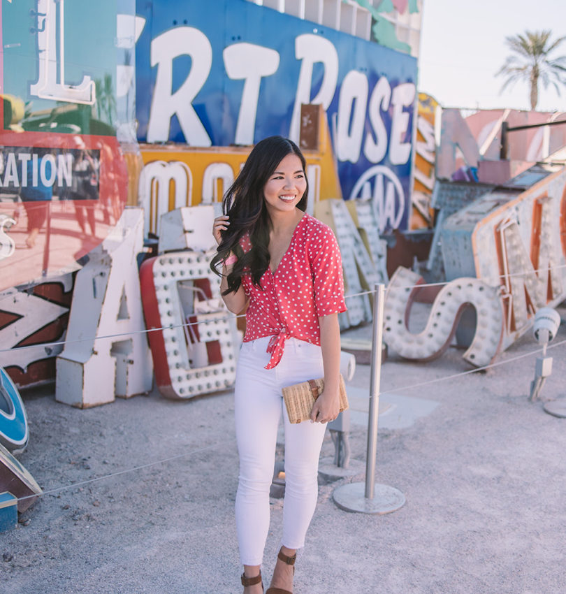 Spring Style in Las Vegas / Red Polka Dot Top & White Jeans