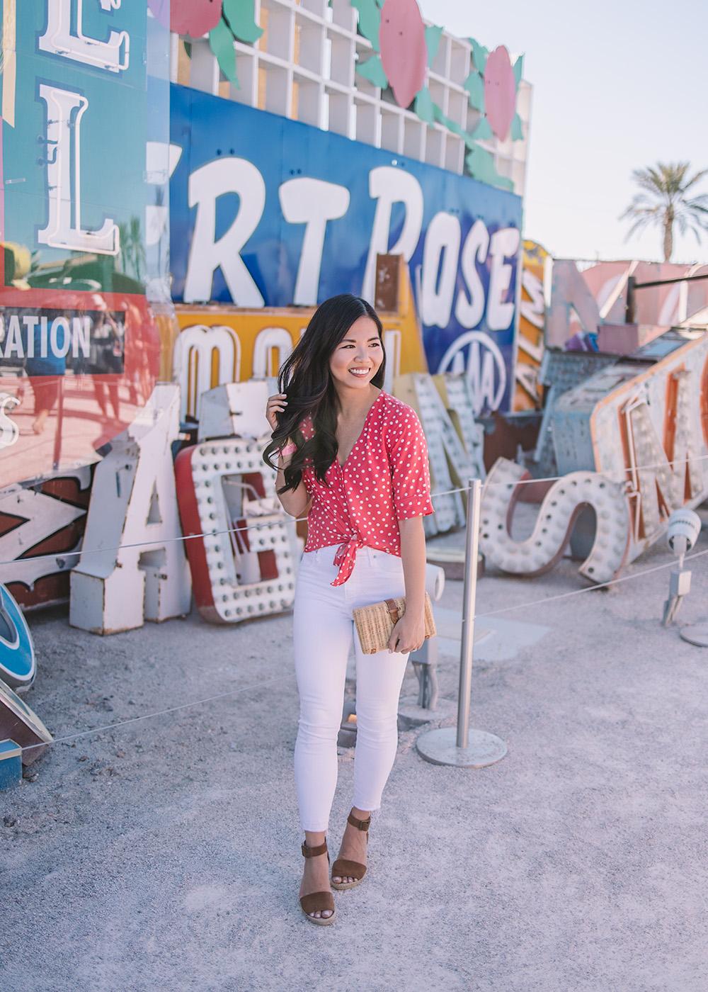 Spring Style in Las Vegas / Red Polka Dot Top & White Jeans