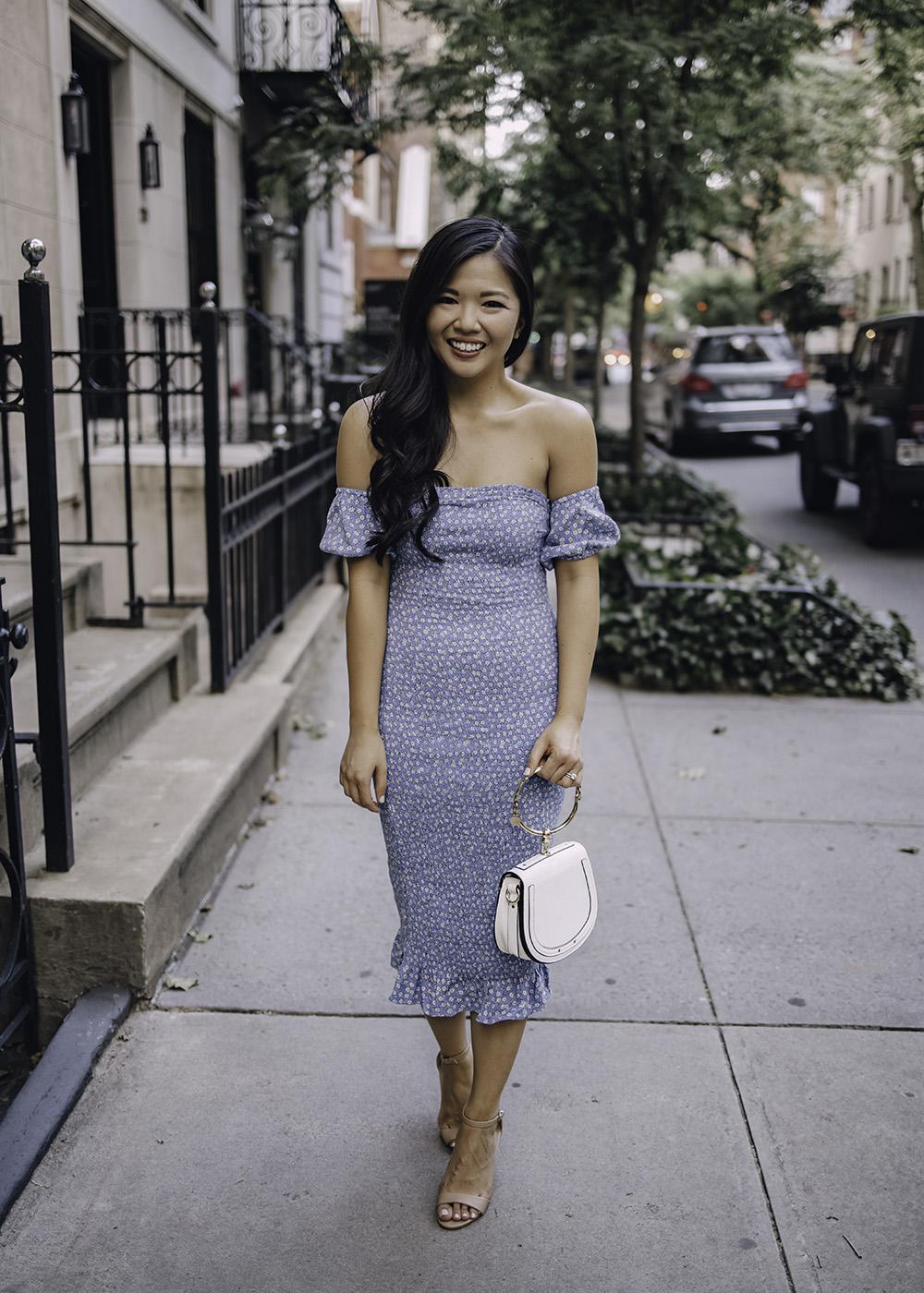 Summer Wedding Guest Dress: Blue Floral Off the Shoulder Dress