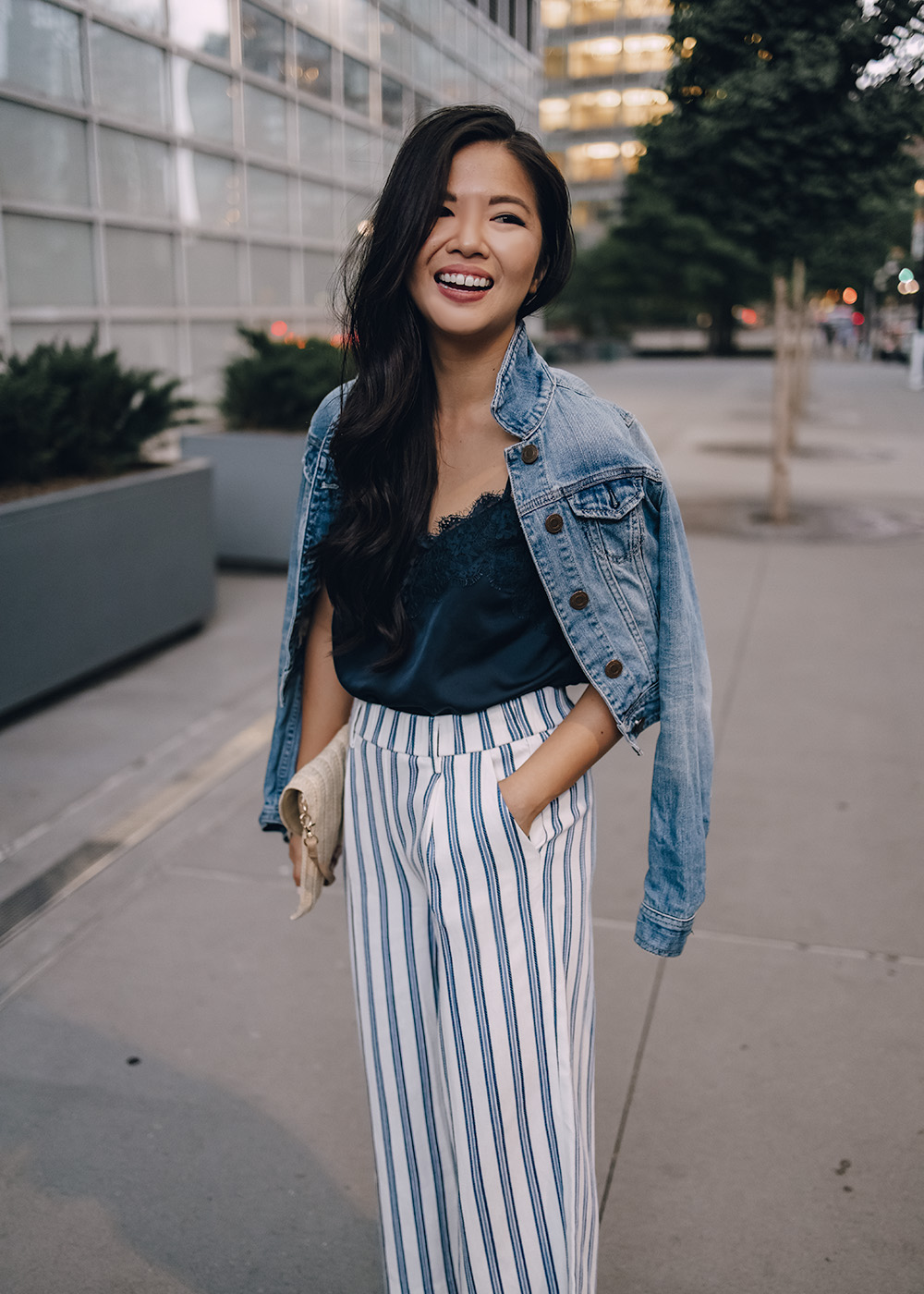 Casual Outfit for Women: Denim Jacket, Navy Lace Cami, Blue & White Striped Pants