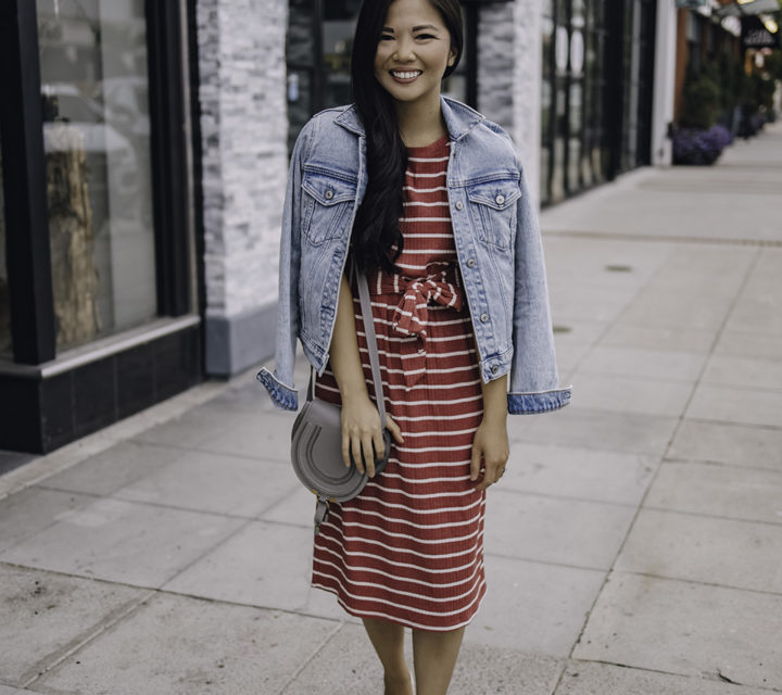 Casual Summer Outfit for Women: Striped T-Shirt Dress & Denim Jacket