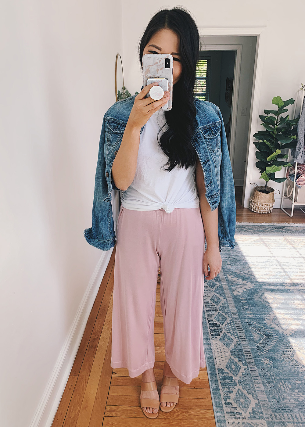 Casual Outfit for Women: White Knotted T-Shirt, Denim Jacket, Pink Lounge Pants