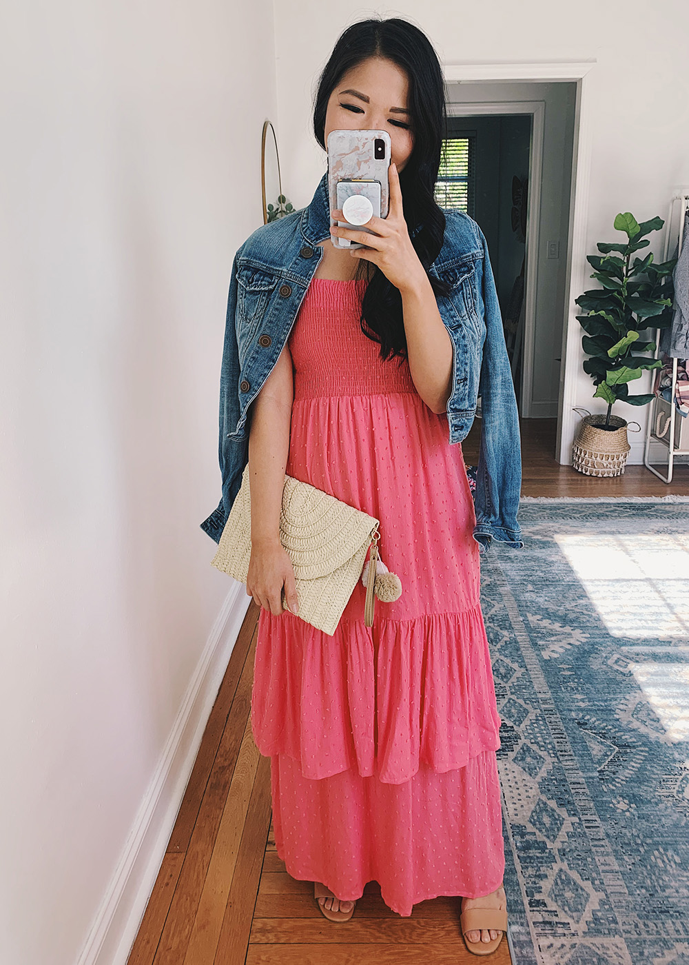 Colorful Summer Maxi Dress: Denim Jacket, Coral Ruffle Dress, Straw Clutch with Pom Poms