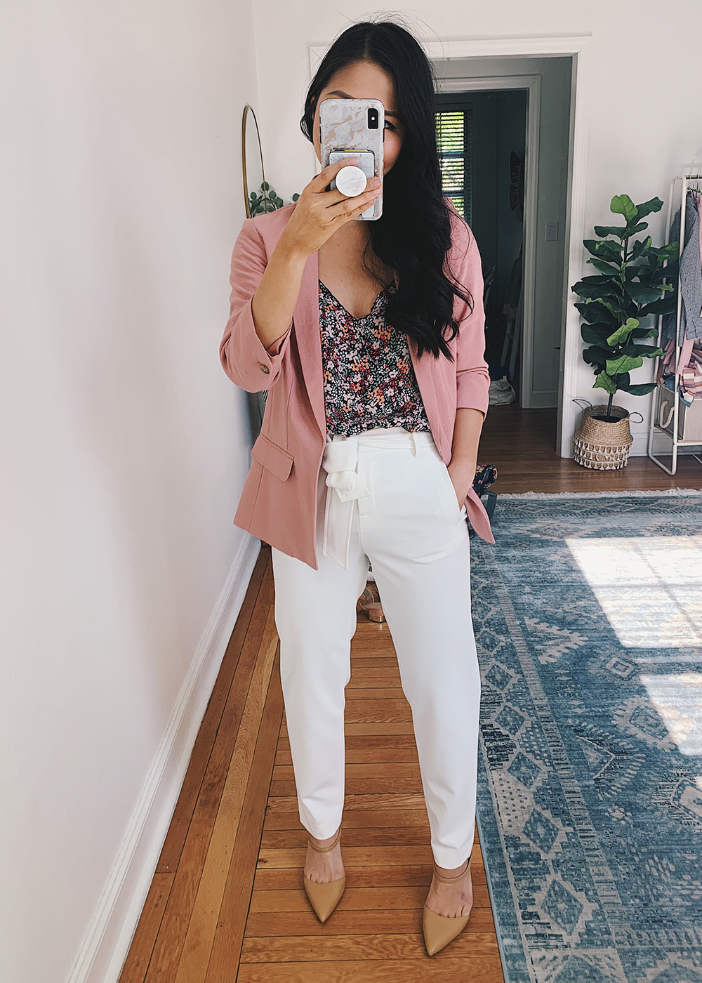 Colorful Work Outfit for Women: Pink Blazer, Floral Cami, White Slacks, Nude Pumps