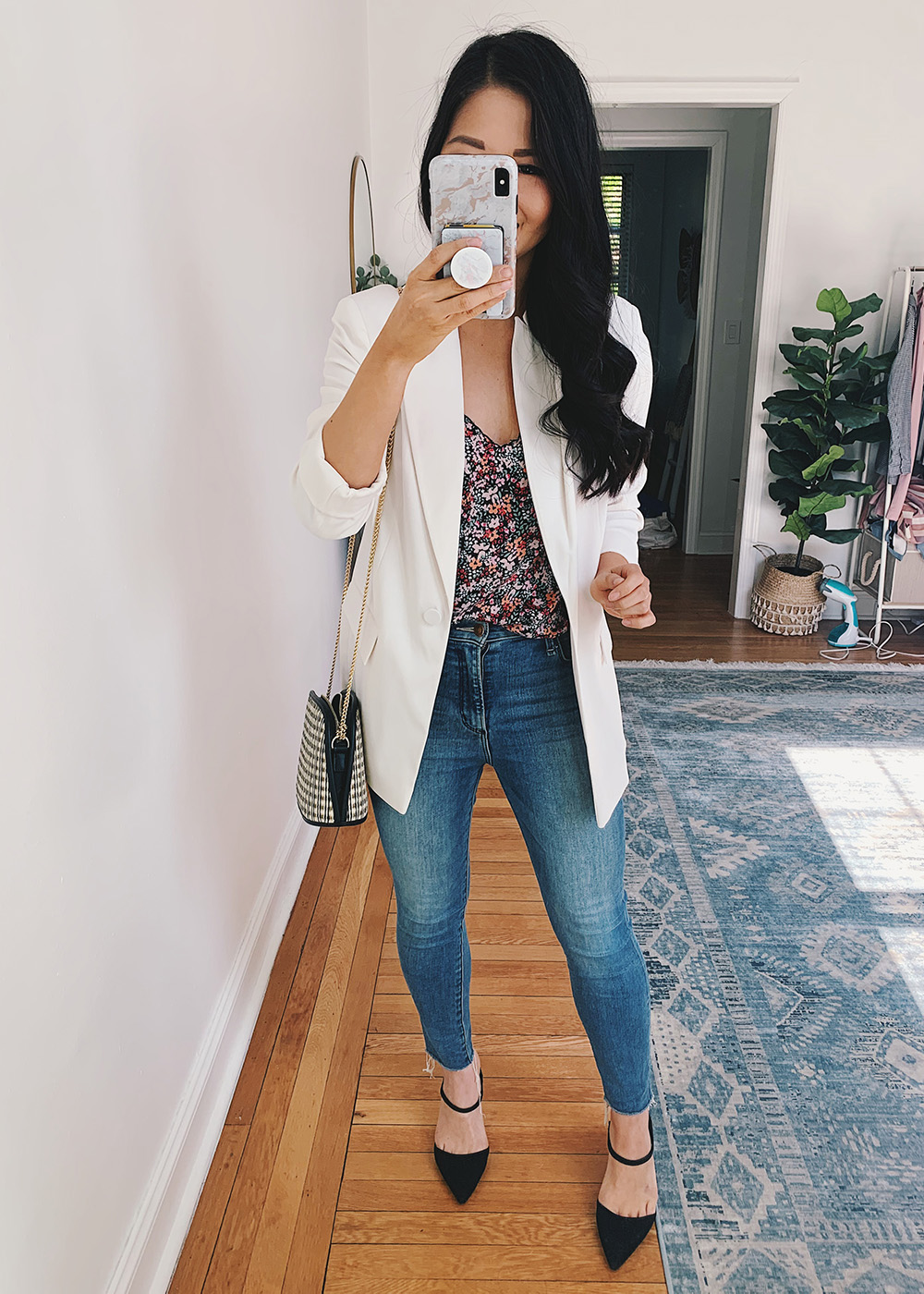 Business Casual Outfit for Women: White Blazer, Floral Cami, High Waisted Skinny Jeans, Black Pump Mules