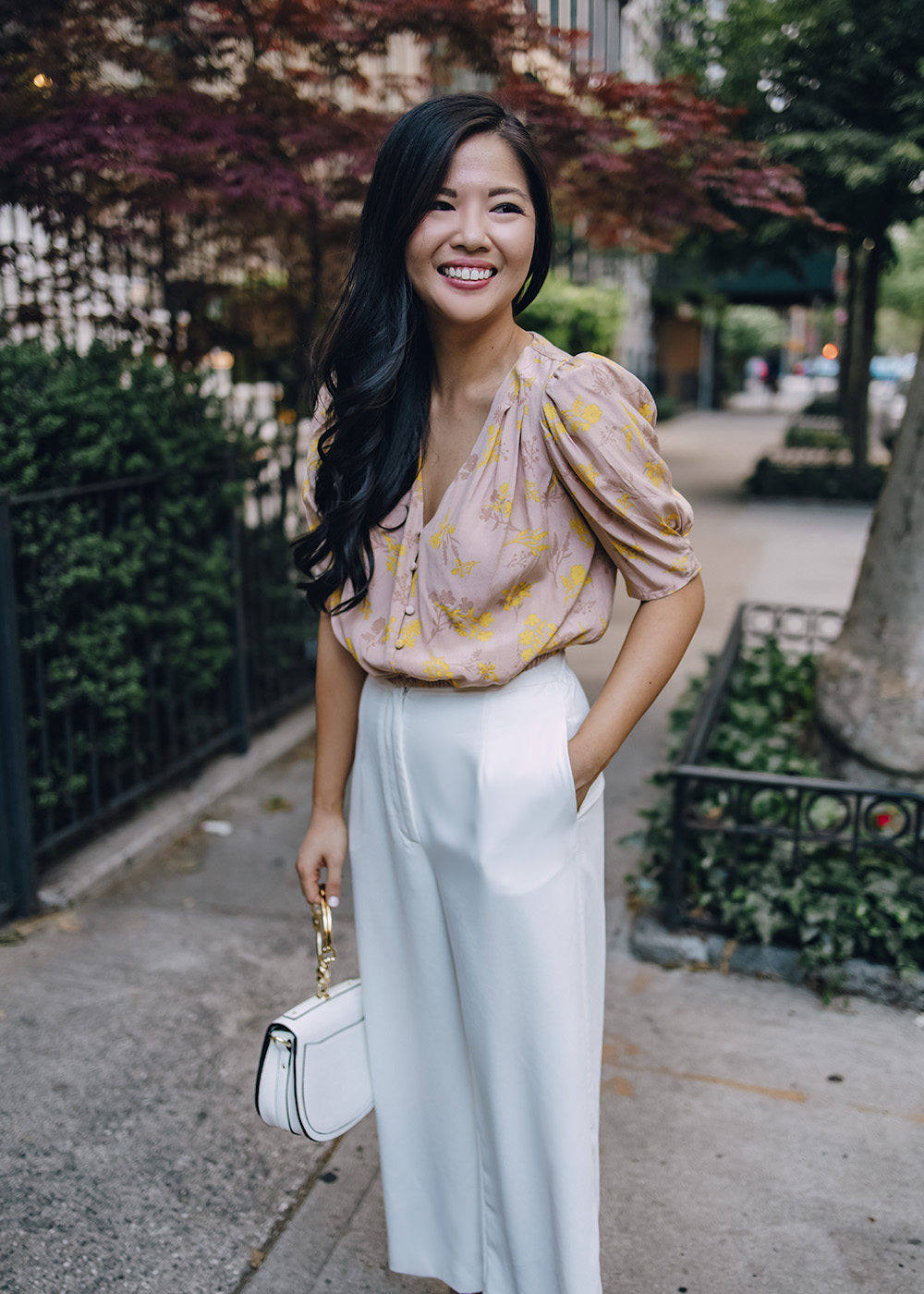 Spring Work Outfit for Women: Floral Top & White Wide Leg Pants
