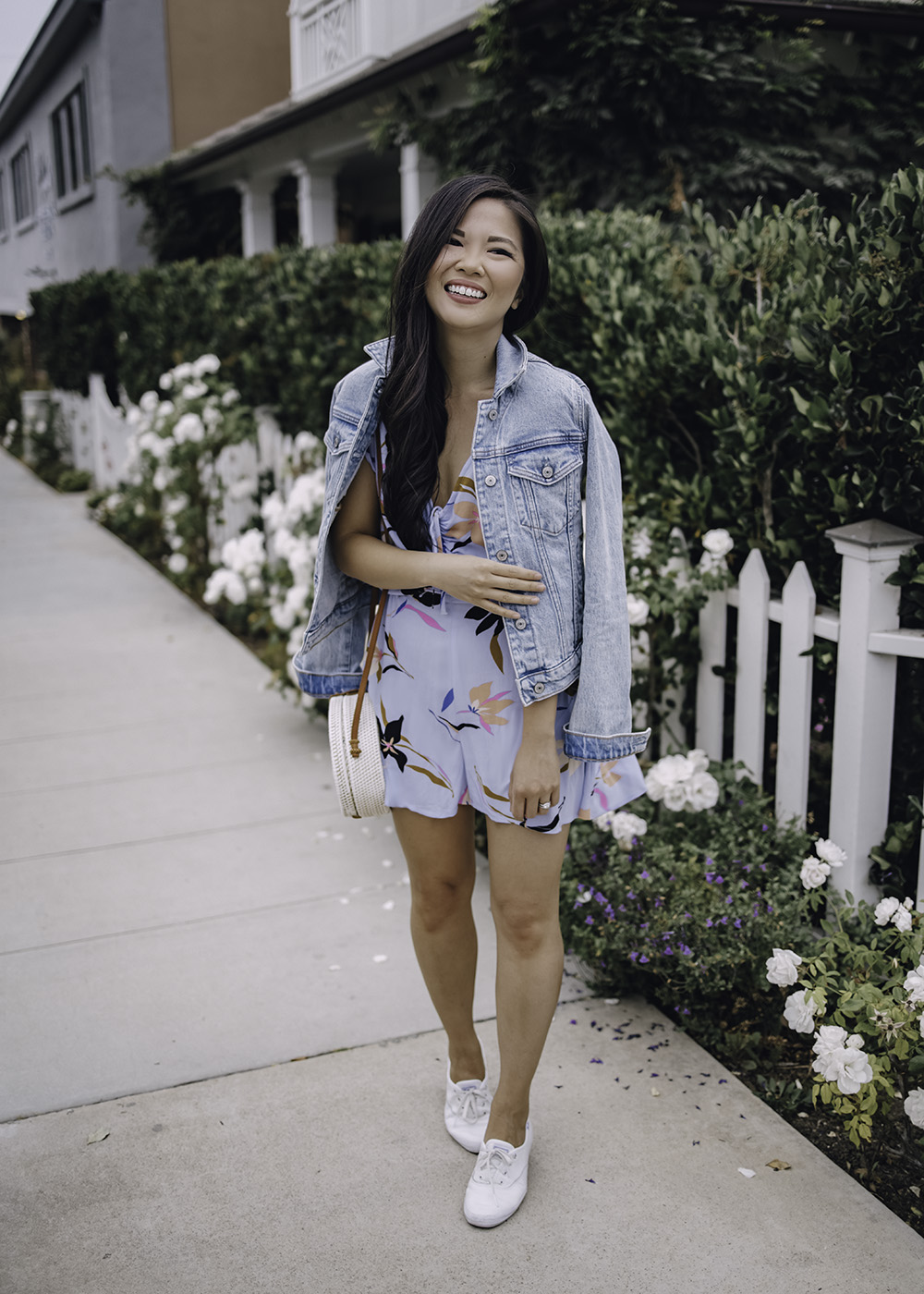 Casual Summer Outfit for Women: Light Blue Floral Romper