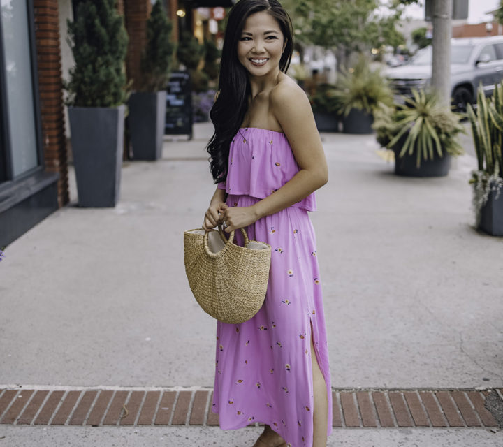 Summer Outfit: Pink Strapless Floral Dress