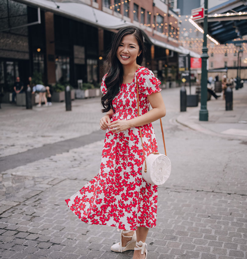 Bright Summer Outfit for Women: Red Floral Dress with Puff Sleeves
