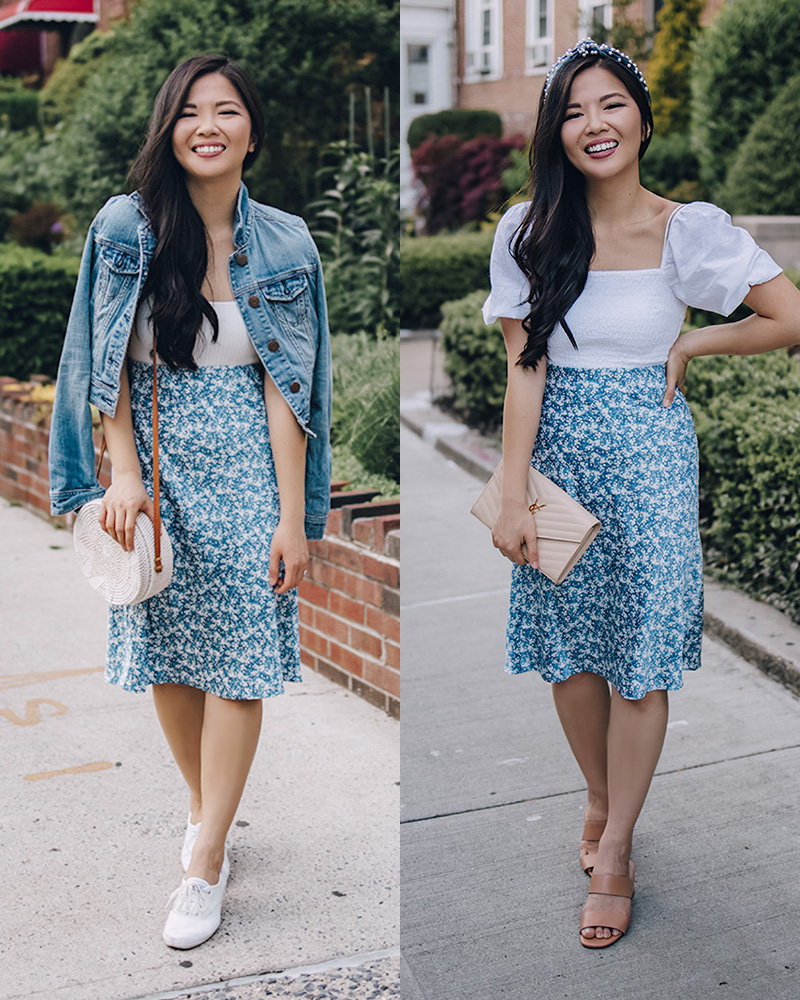 Casual Summer Outfits for Women: White Top, Blue Floral Midi Skirt