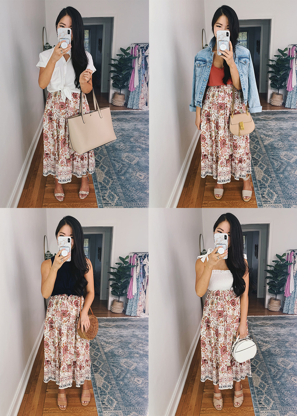 Summer Outfits for Women: Four Ways to Wear a Pink Boho Midi Skirt