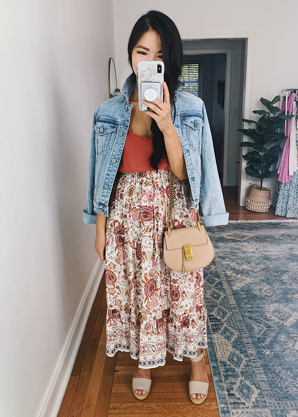 Summer Outfit: Denim Jacket, Coral Tank, Pink Boho Midi Skirt