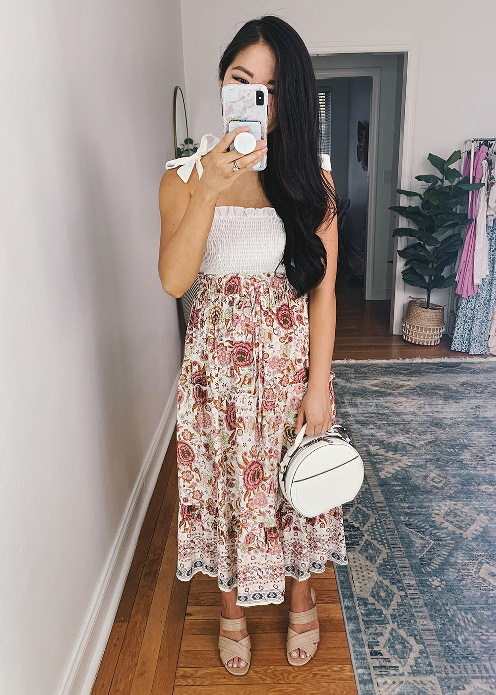Summer Outfit for Women: White Tie Strap Crop Top, Pink Boho Midi Skirt, White Straw Circle Bag