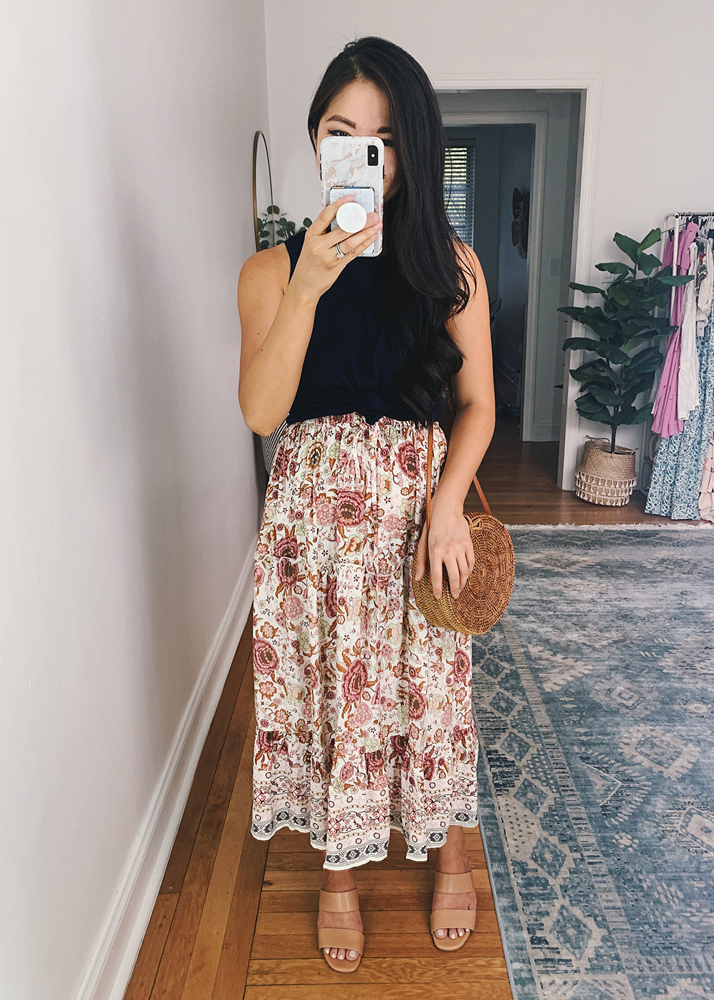 Summer Outfit for Women: Navy Tank Top, Pink Boho Midi Skirt, Brown Straw Circle Bag